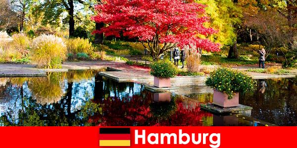 リラックスした休日のための大きな公園とハンブルクの港町