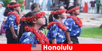 外国人ゲストはホノルルアメリカ合衆国の地域住民との文化交流が大好き