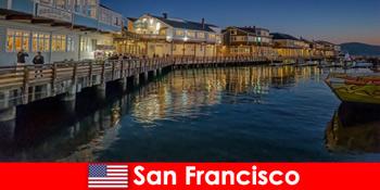 サンフランシスコアメリカ、ウォーターフロント地区は行楽客の秘密のお気に入りです